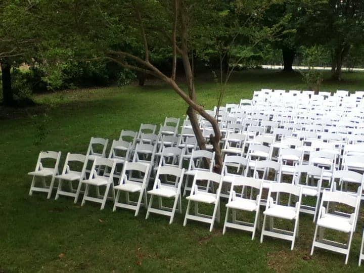 white garden or wedding chair rentals for parties in arkansas